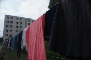 Clothes hung up to dry on a fence at the often over-crowded refugee camp